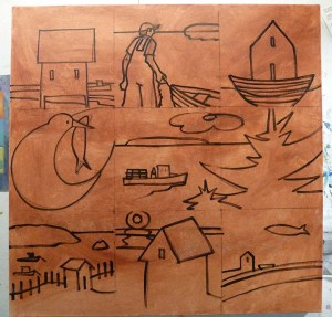 Preliminary sketch on canvas of segmented/chapters of 36x36 painting.