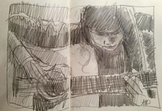 Grace with guitar closeup