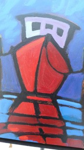 Closeup look at detail of a 24x24 painting depicting the simple drama of red against blues.