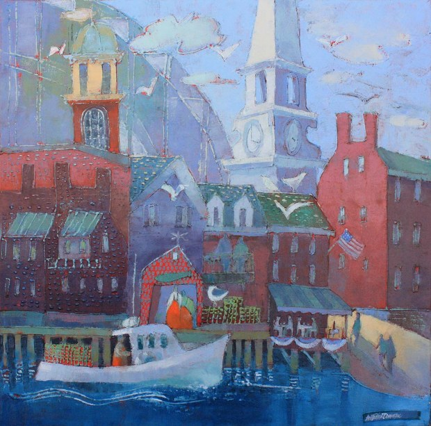 18771 Village on the Piscataqua Portsmouth acryl canv 30x30 sm