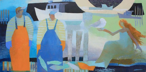Together in This Too, 24x48, acrylic on canvas.