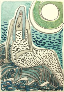 Moonlight Mermaid, 5x7 watercolor and pencil.