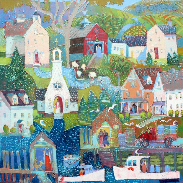201115 Village Down to the Sea acryl canv 36x36 sm