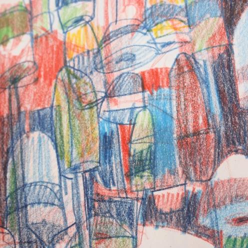 Buoys sketch, 8x10, colored pencils
