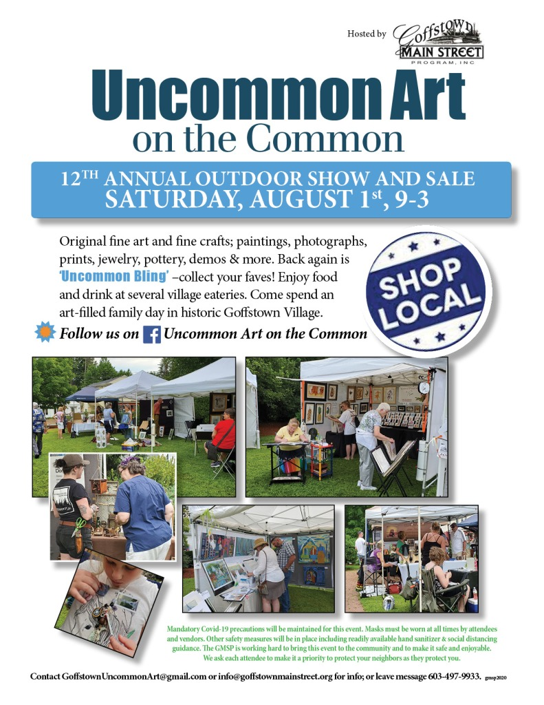 outdoor art show in Goffstown, NH, August 1, 2020